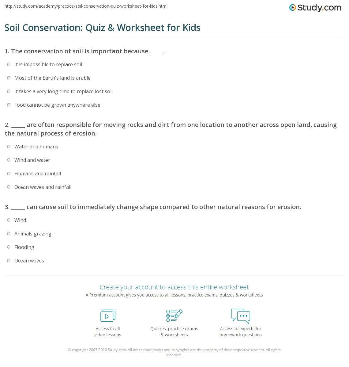 Soil Conservation Quiz Amp Worksheet For Kids