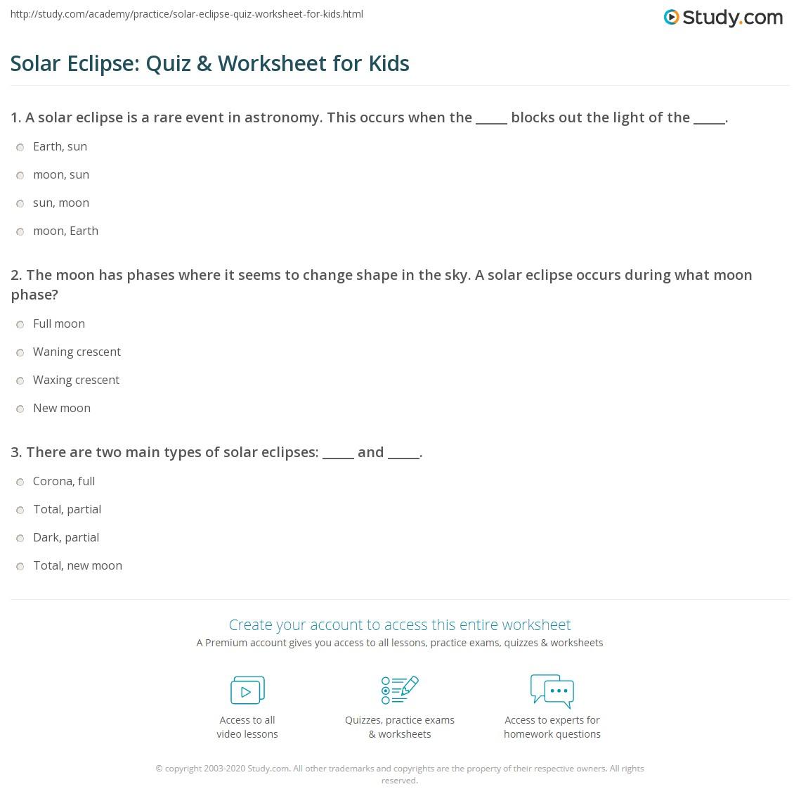 Solar Eclipse Quiz Amp Worksheet For Kids