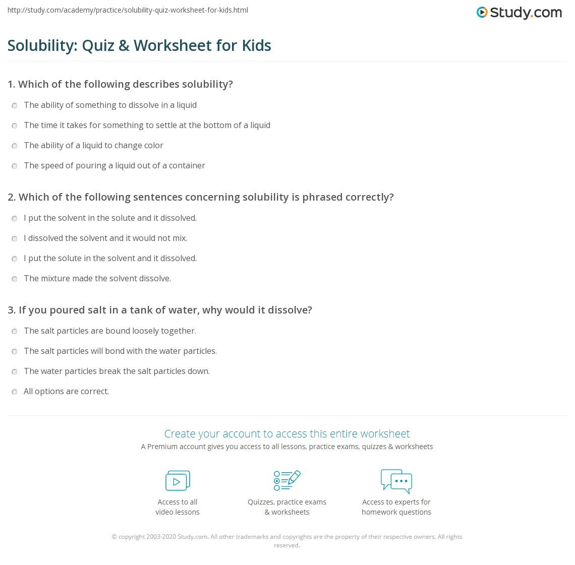 Solubility Quiz Amp Worksheet For Kids