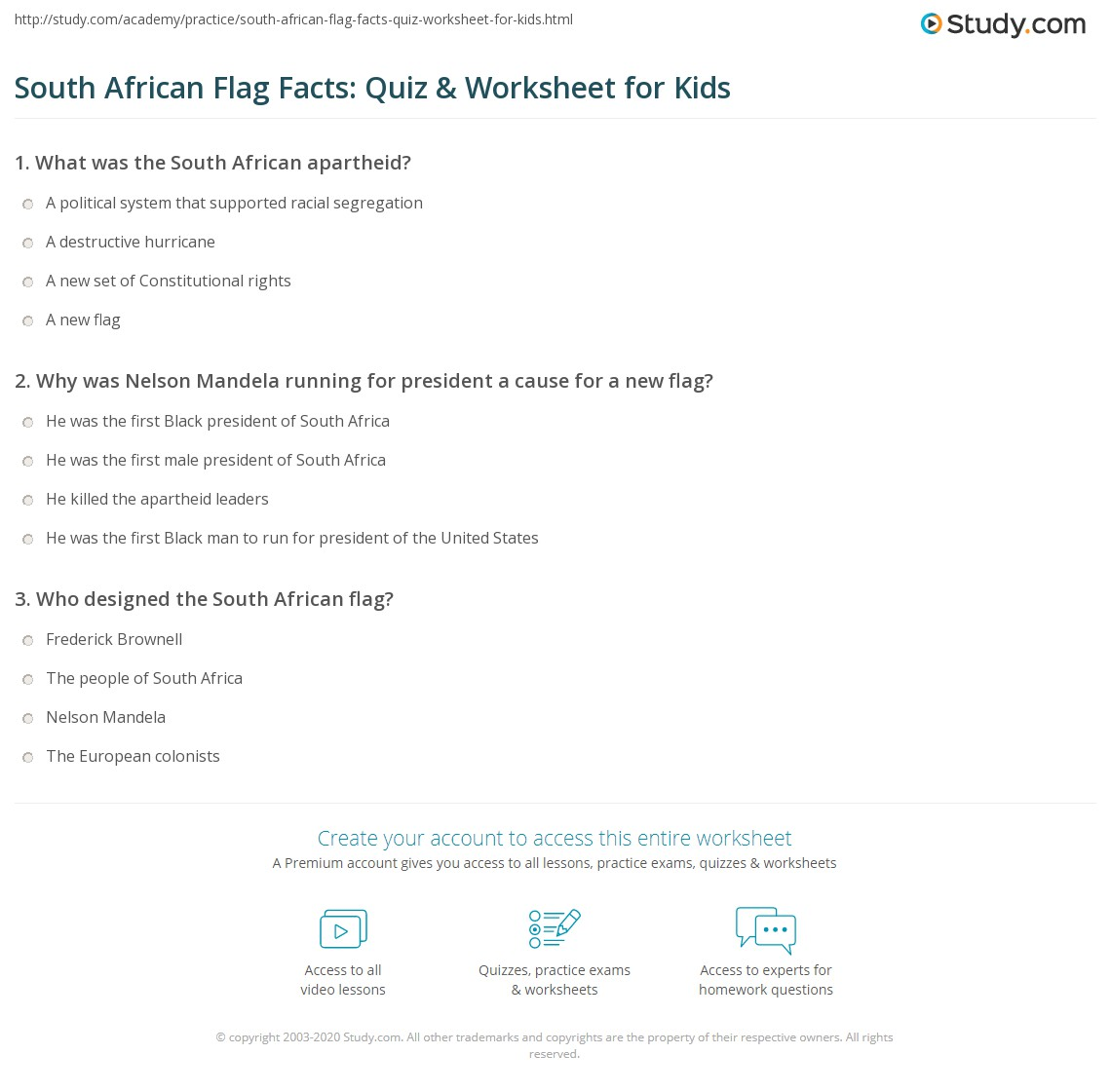 South African Flag Facts Quiz Amp Worksheet For Kids