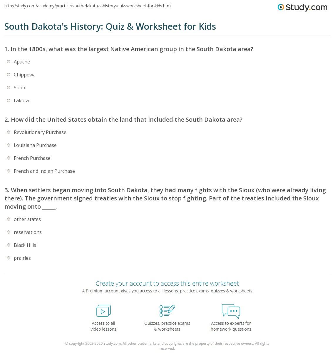 South Dakota S History Quiz Amp Worksheet For Kids