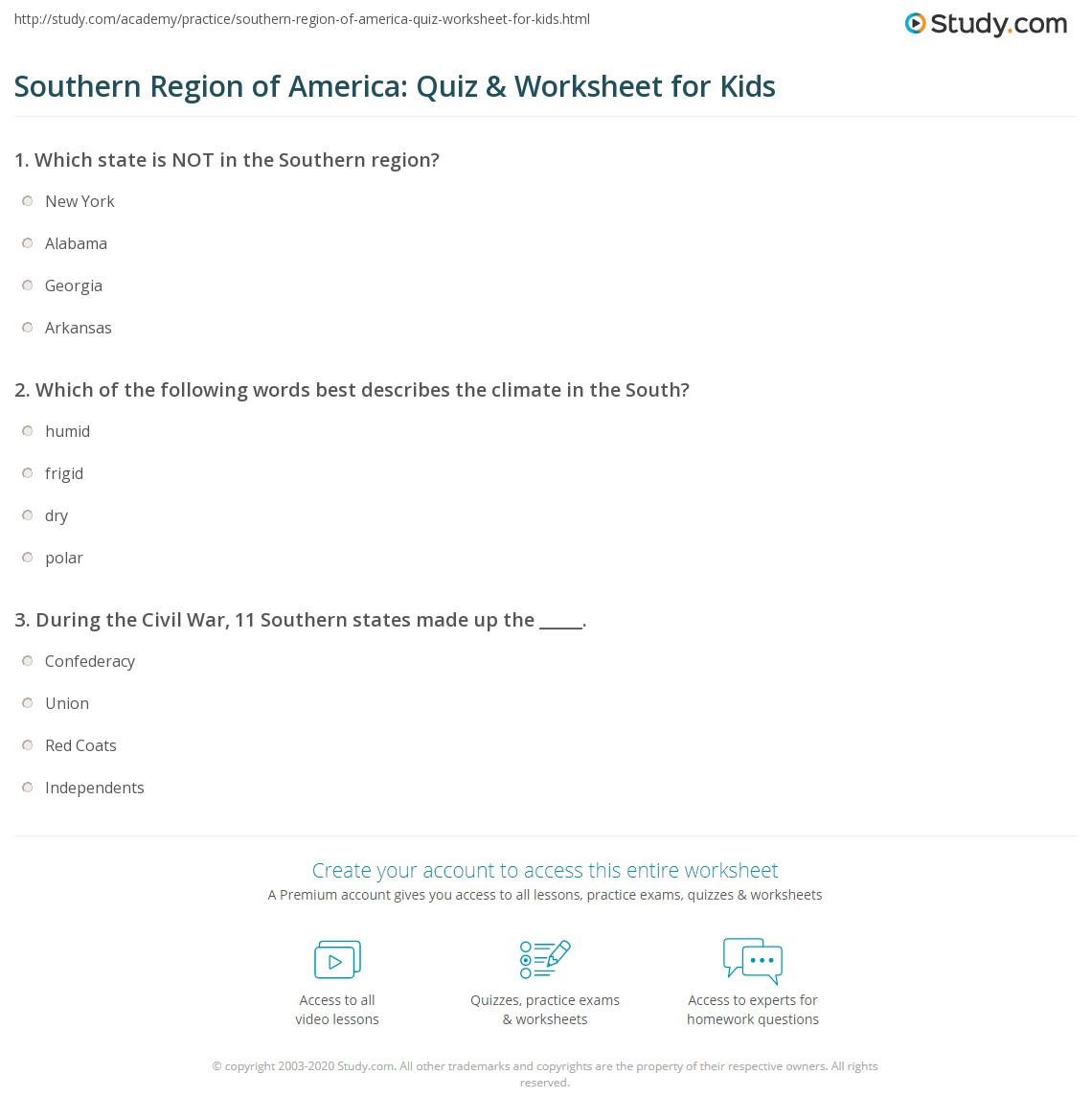 Southern Region Of America Quiz Amp Worksheet For Kids