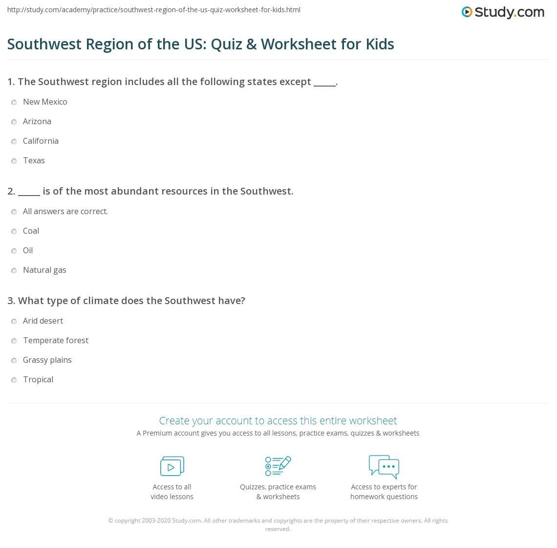 Southwest Region Of The Us Quiz Amp Worksheet For Kids