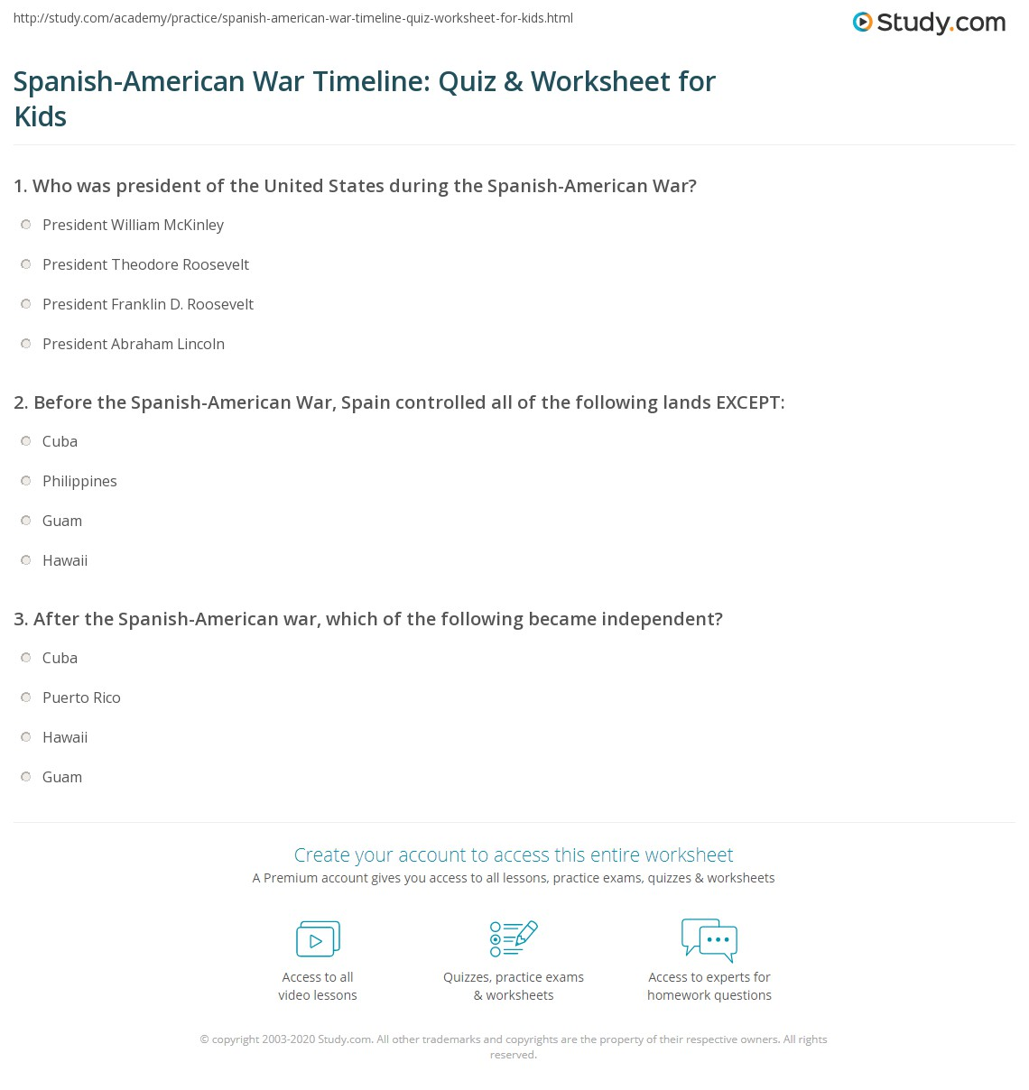 Spanish American War Timeline Quiz Amp Worksheet For Kids