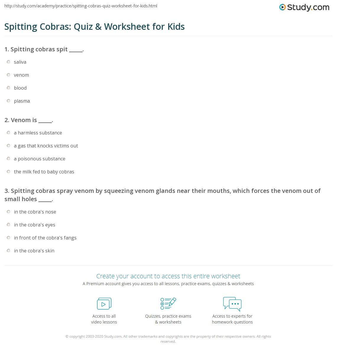 Spitting Cobras Quiz Amp Worksheet For Kids