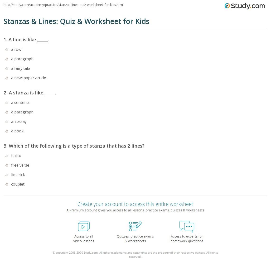 Stanzas Amp Lines Quiz Amp Worksheet For Kids