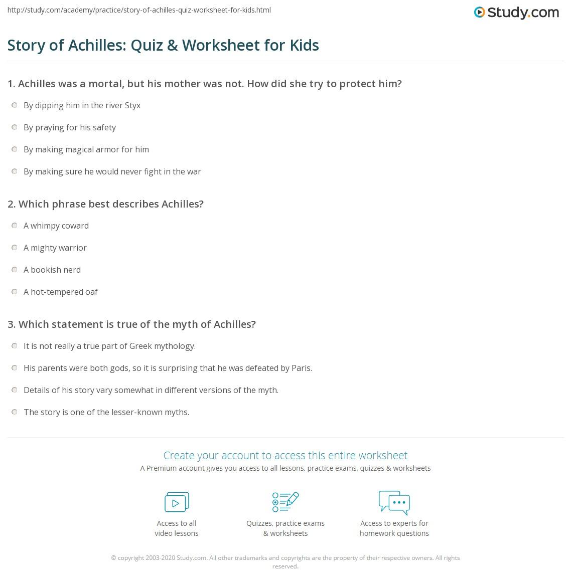 Story Of Achilles Quiz Amp Worksheet For Kids