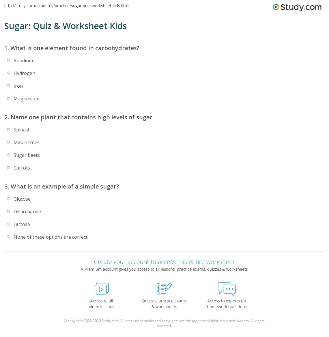 Sugar Quiz Amp Worksheet Kids