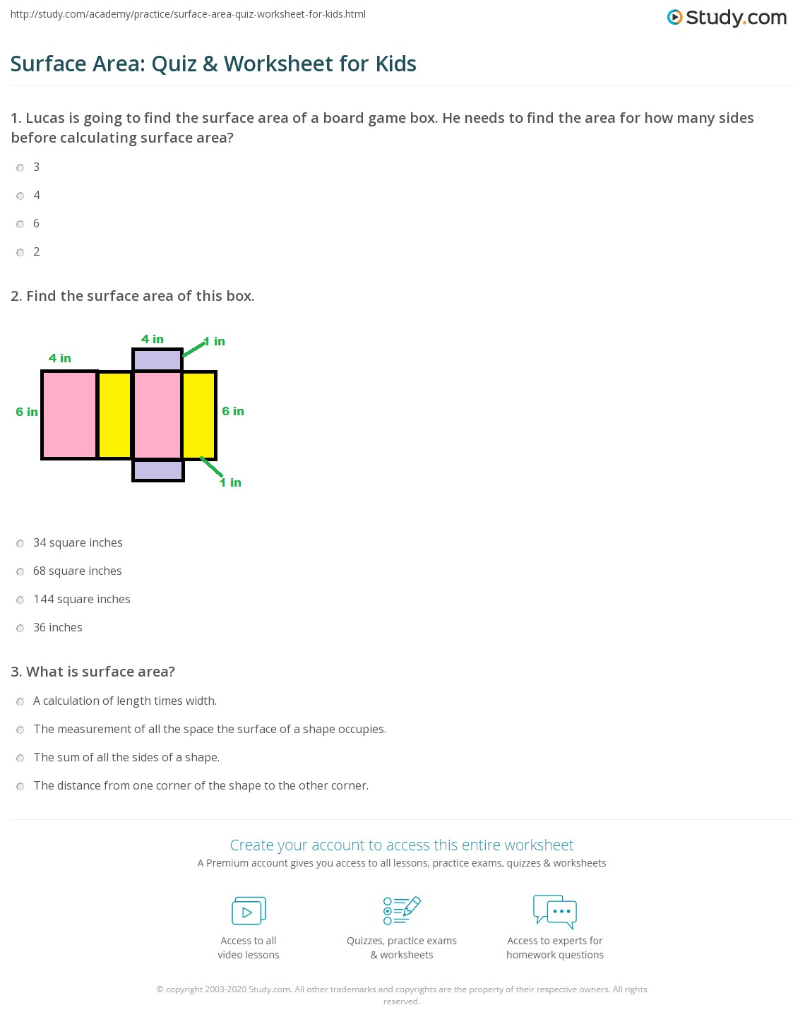 Surface Area Quiz Amp Worksheet For Kids