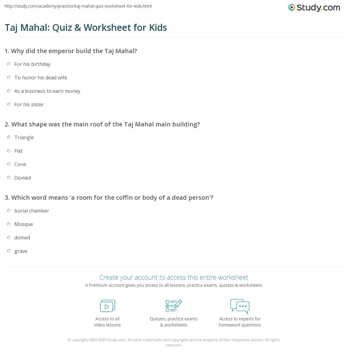 Taj Mahal Quiz Amp Worksheet For Kids