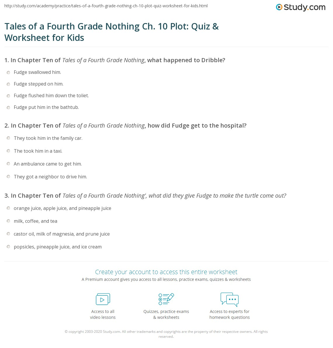 Tales Of A Fourth Grade Nothing Ch 10 Plot Quiz Amp Worksheet For Kids