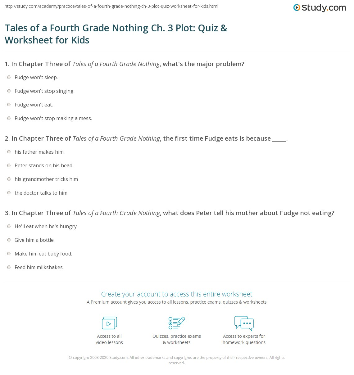 Tales Of A Fourth Grade Nothing Ch 3 Plot Quiz Amp Worksheet For Kids
