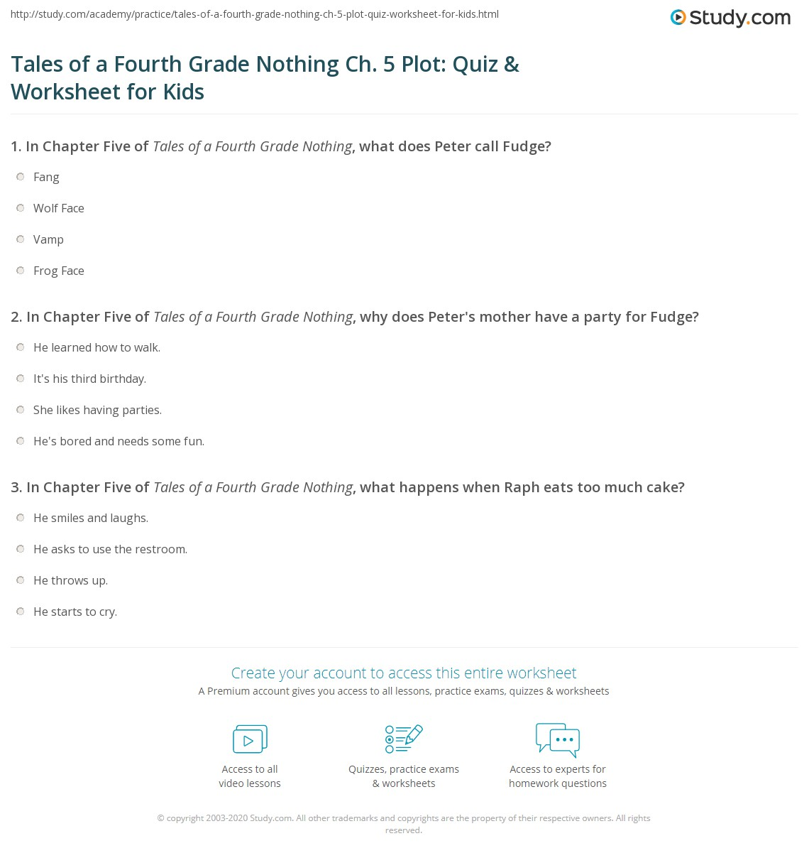 Tales Of A Fourth Grade Nothing Ch 5 Plot Quiz