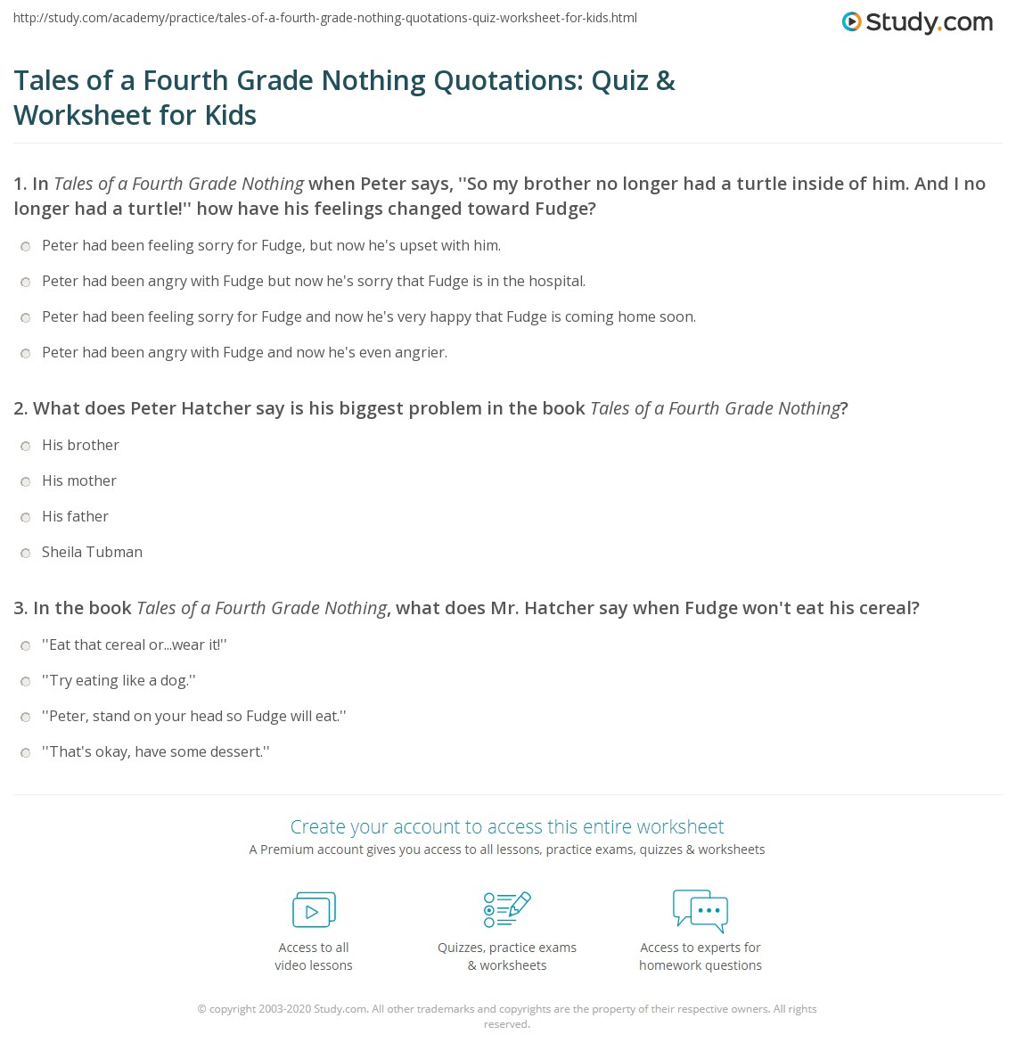 Tales Of A Fourth Grade Nothing Quotations Quiz