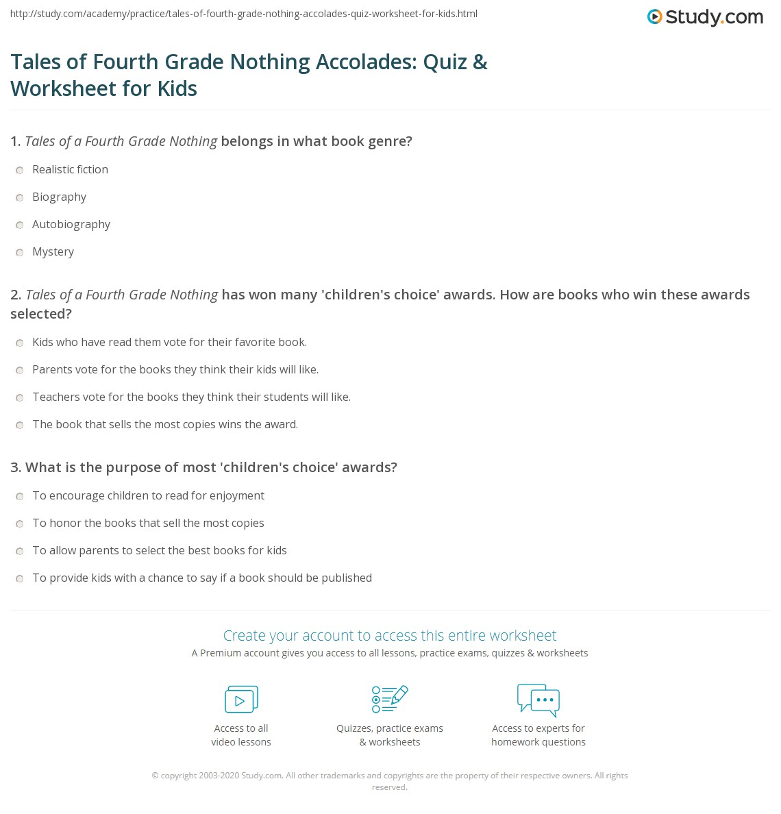 Tales Of Fourth Grade Nothing Accolades Quiz Amp Worksheet