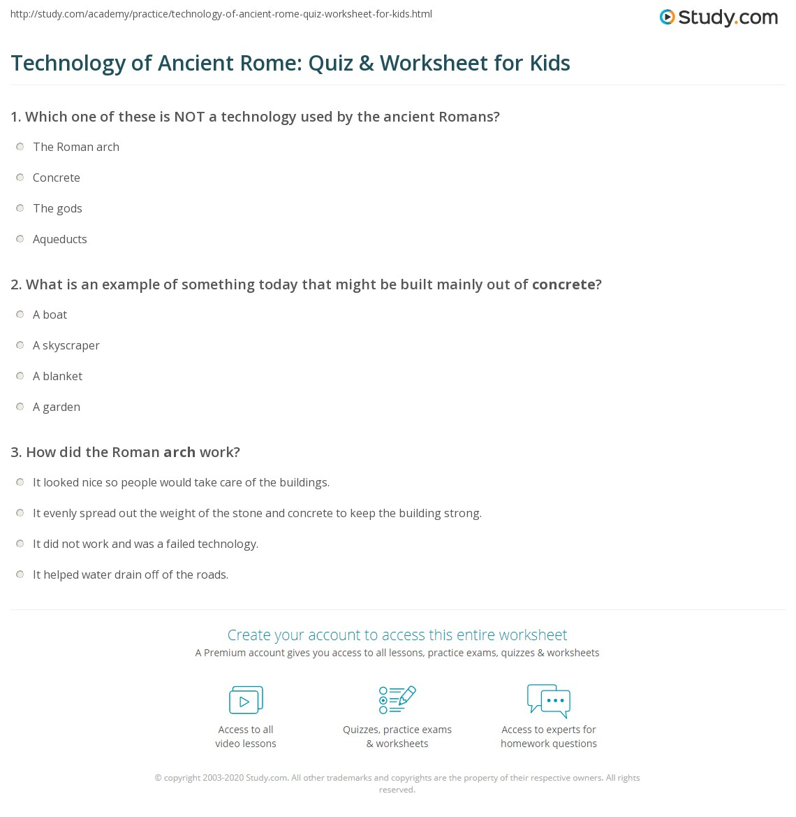 Technology Of Ancient Rome Quiz Amp Worksheet For Kids