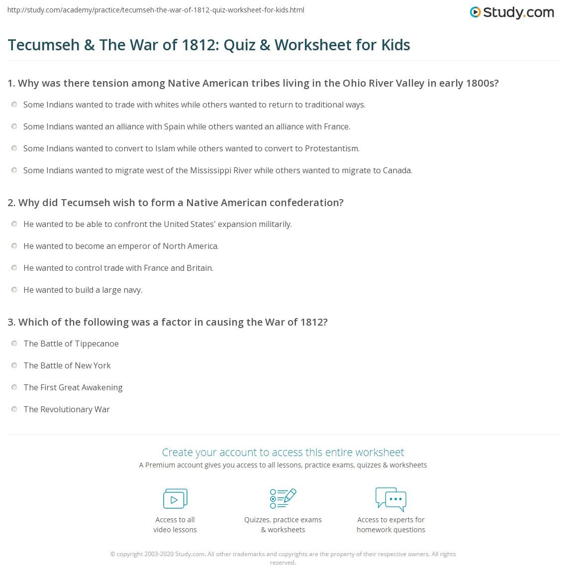 Tecumseh Amp The War Of Quiz Amp Worksheet For Kids