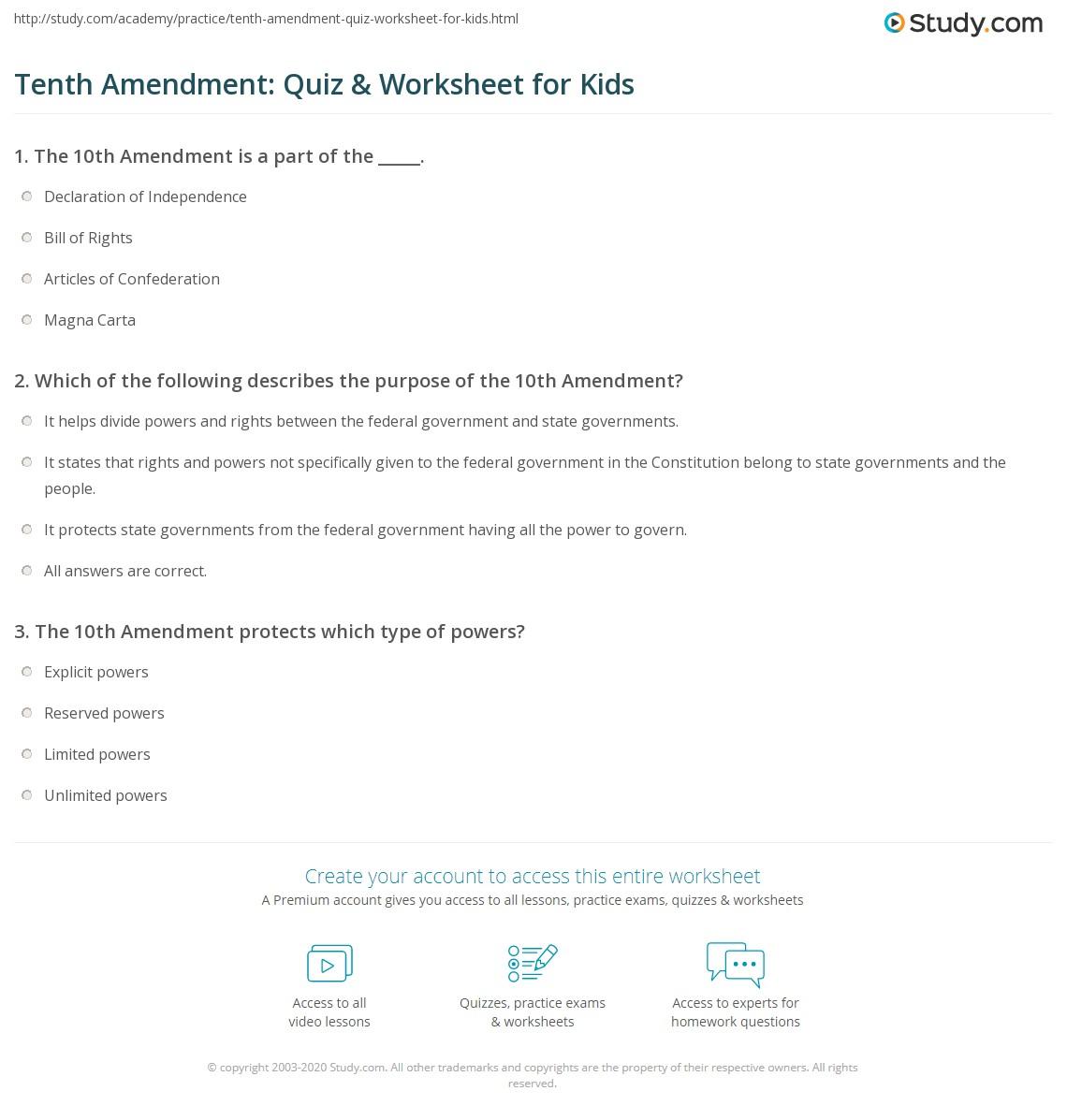 Tenth Amendment Quiz Amp Worksheet For Kids