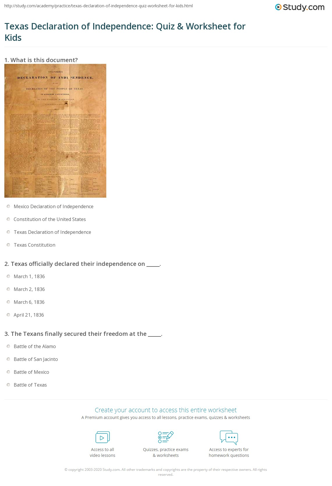 Texas Declaration Of Independence Quiz Amp Worksheet For
