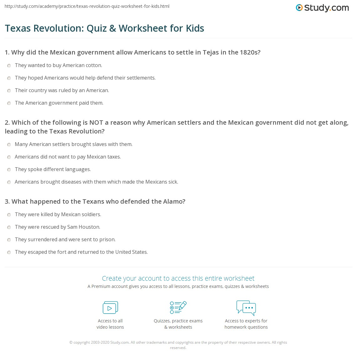 Texas Revolution Quiz Amp Worksheet For Kids