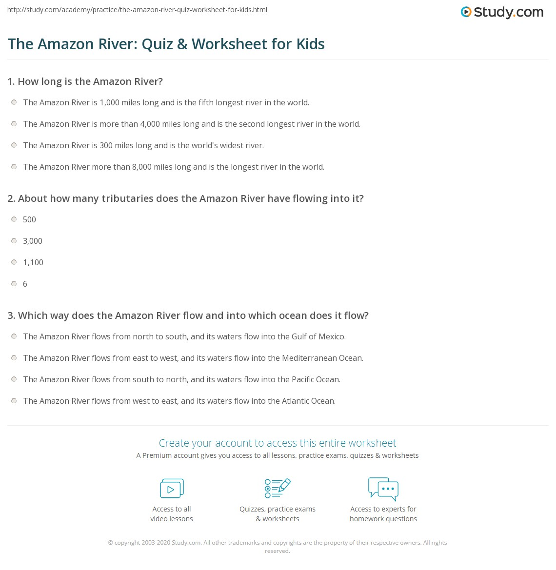 The Amazon River Quiz Amp Worksheet For Kids