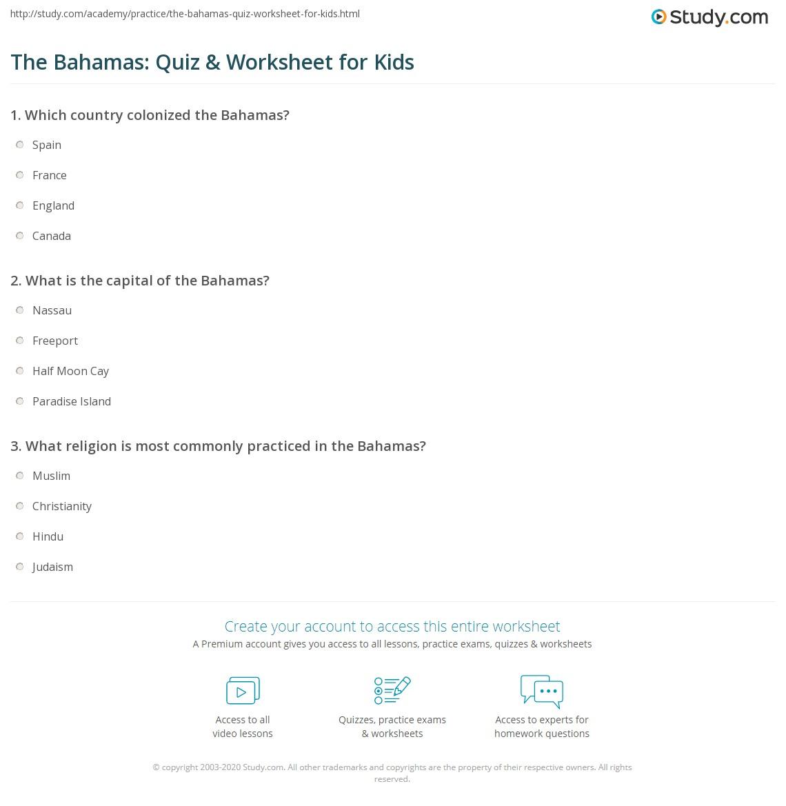 The Bahamas Quiz Amp Worksheet For Kids