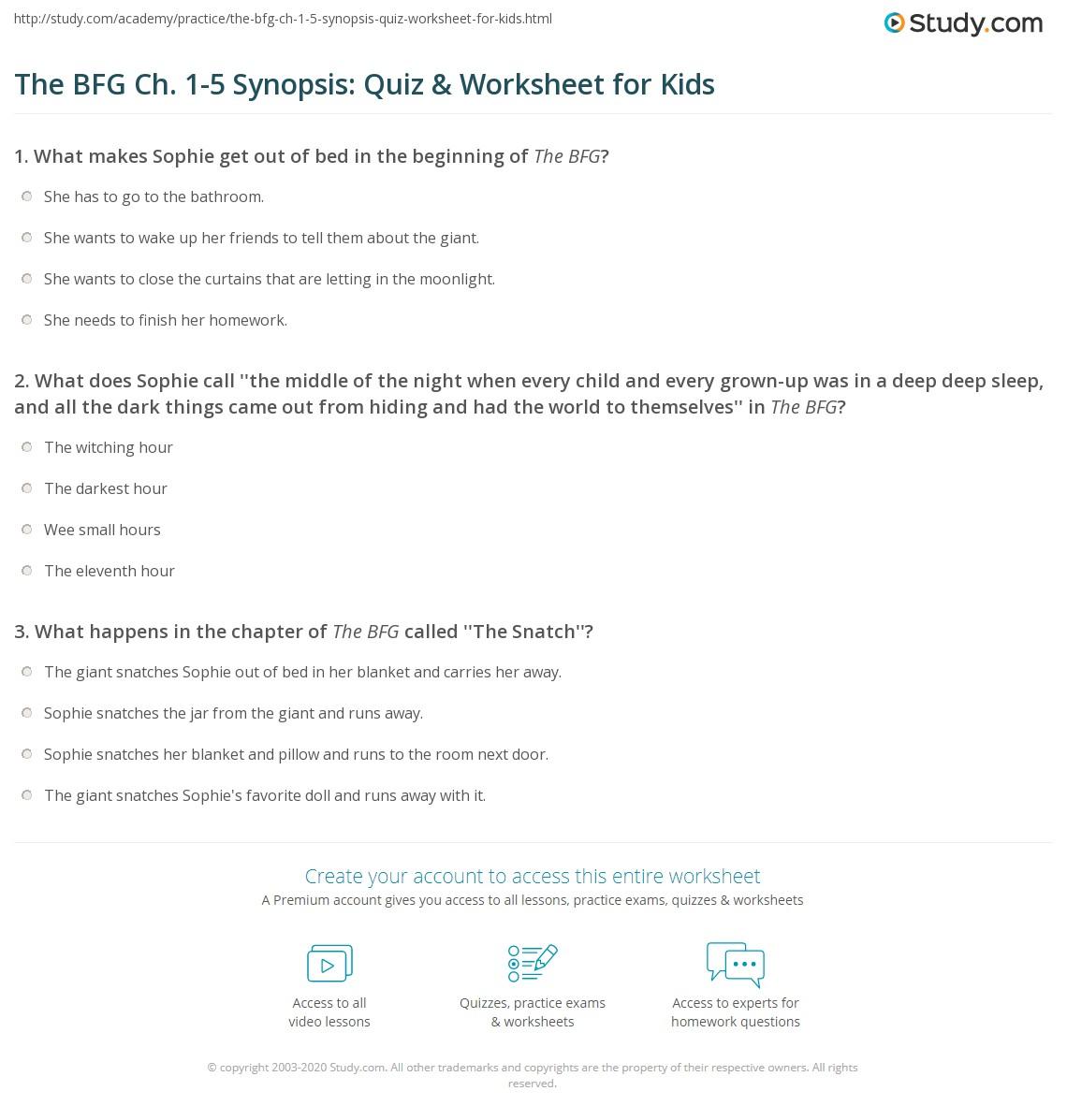 The Bfg Ch 1 5 Synopsis Quiz Amp Worksheet For Kids