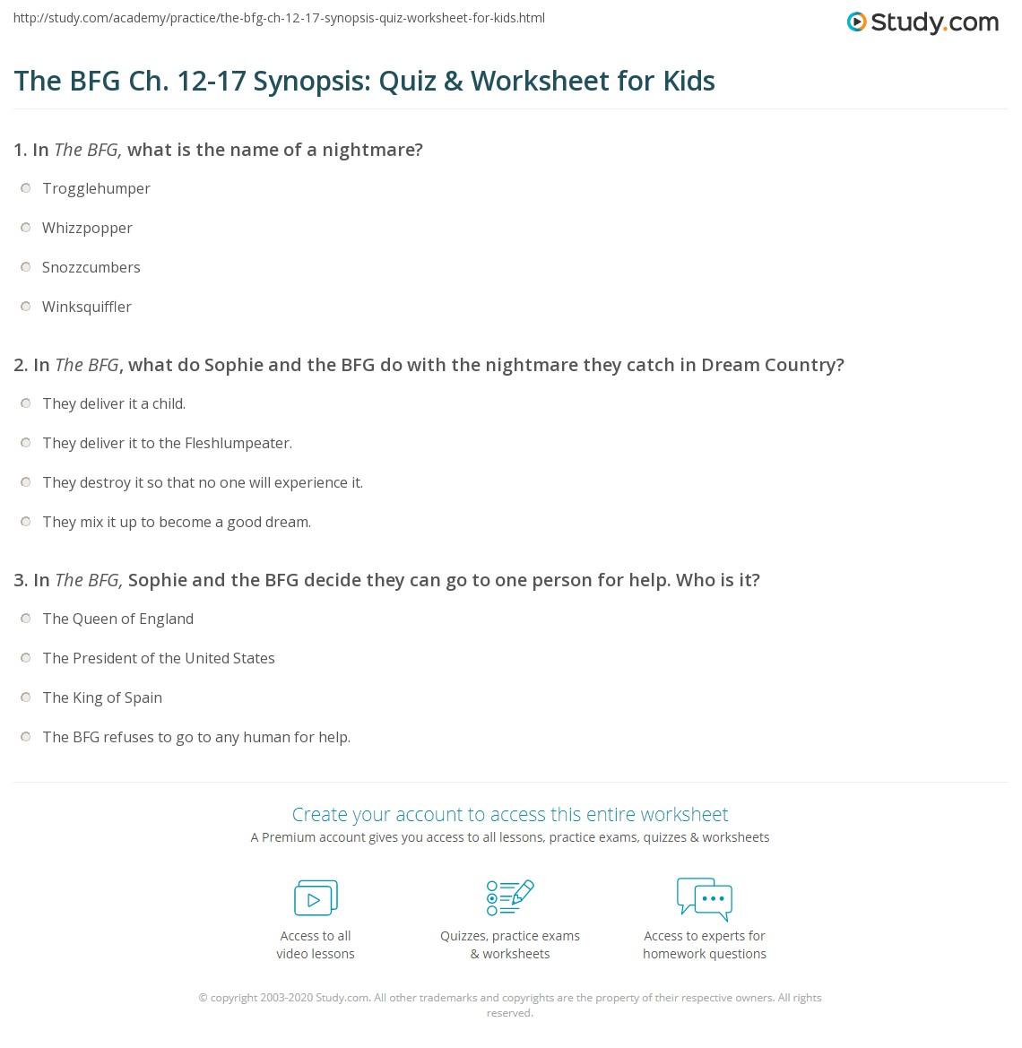 The Bfg Ch 12 17 Synopsis Quiz Amp Worksheet For Kids
