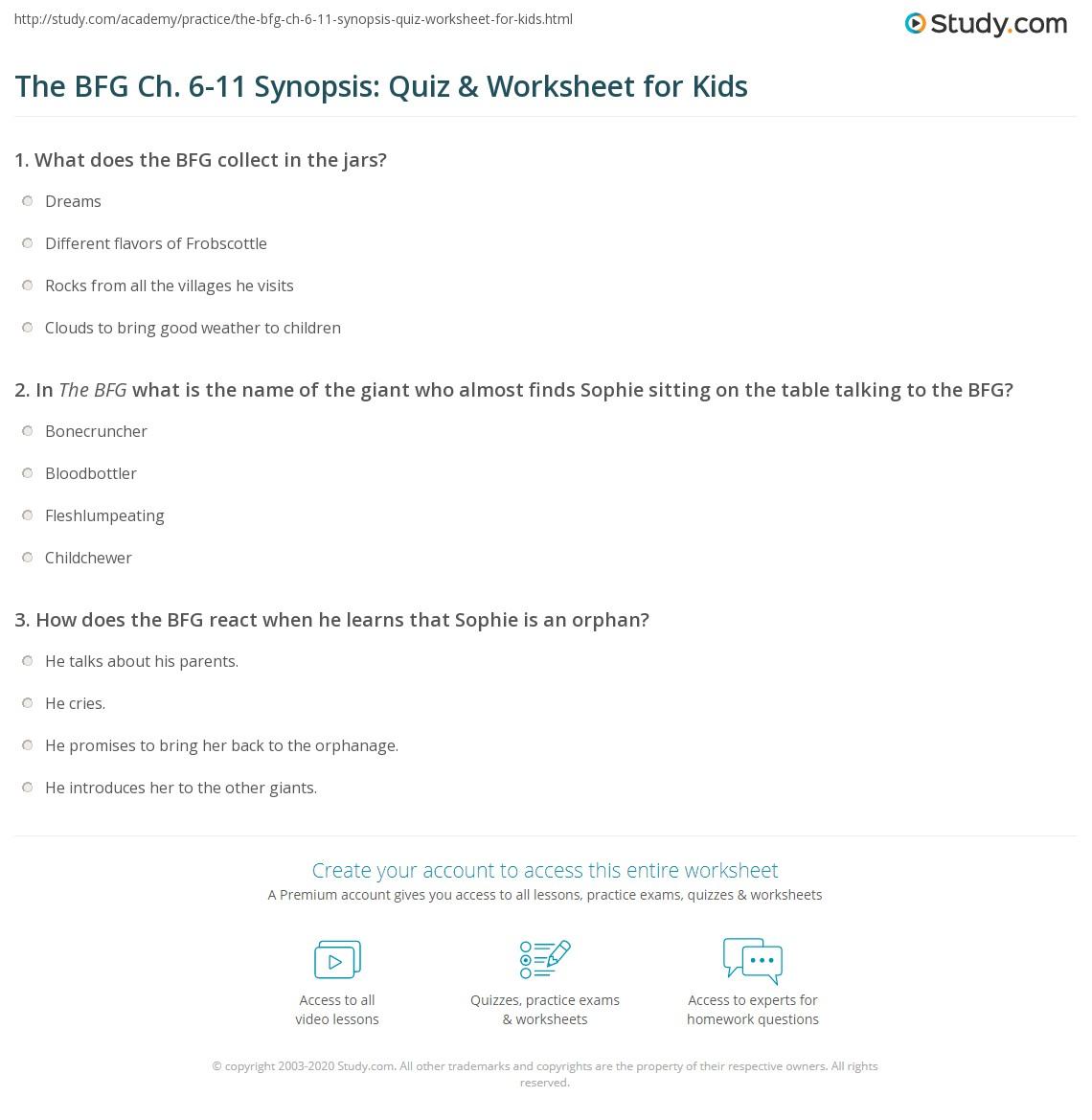The Bfg Ch 6 11 Synopsis Quiz Amp Worksheet For Kids