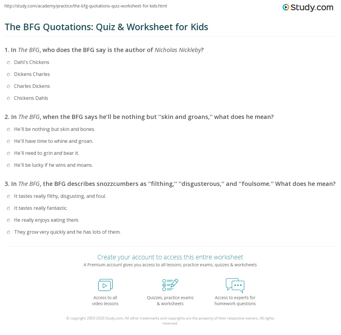 The Bfg Quotations Quiz Amp Worksheet For Kids
