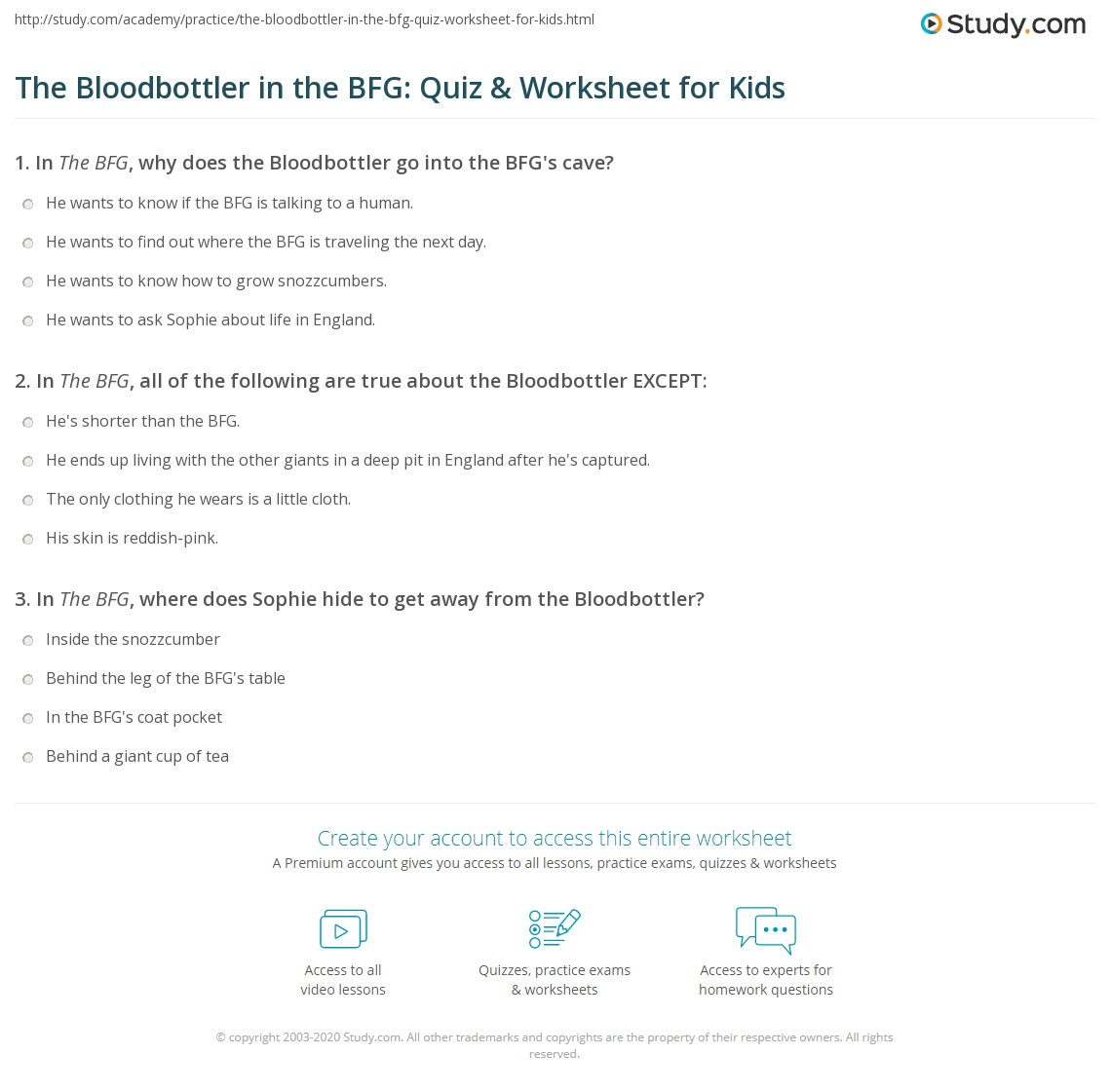 The Bloodbottler In The Bfg Quiz Amp Worksheet For Kids