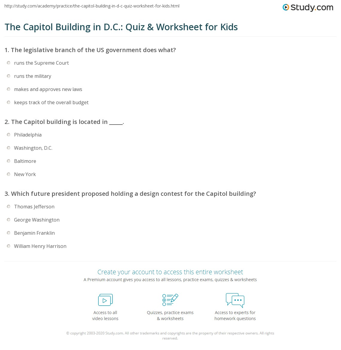 The Capitol Building In D C Quiz Amp Worksheet For Kids