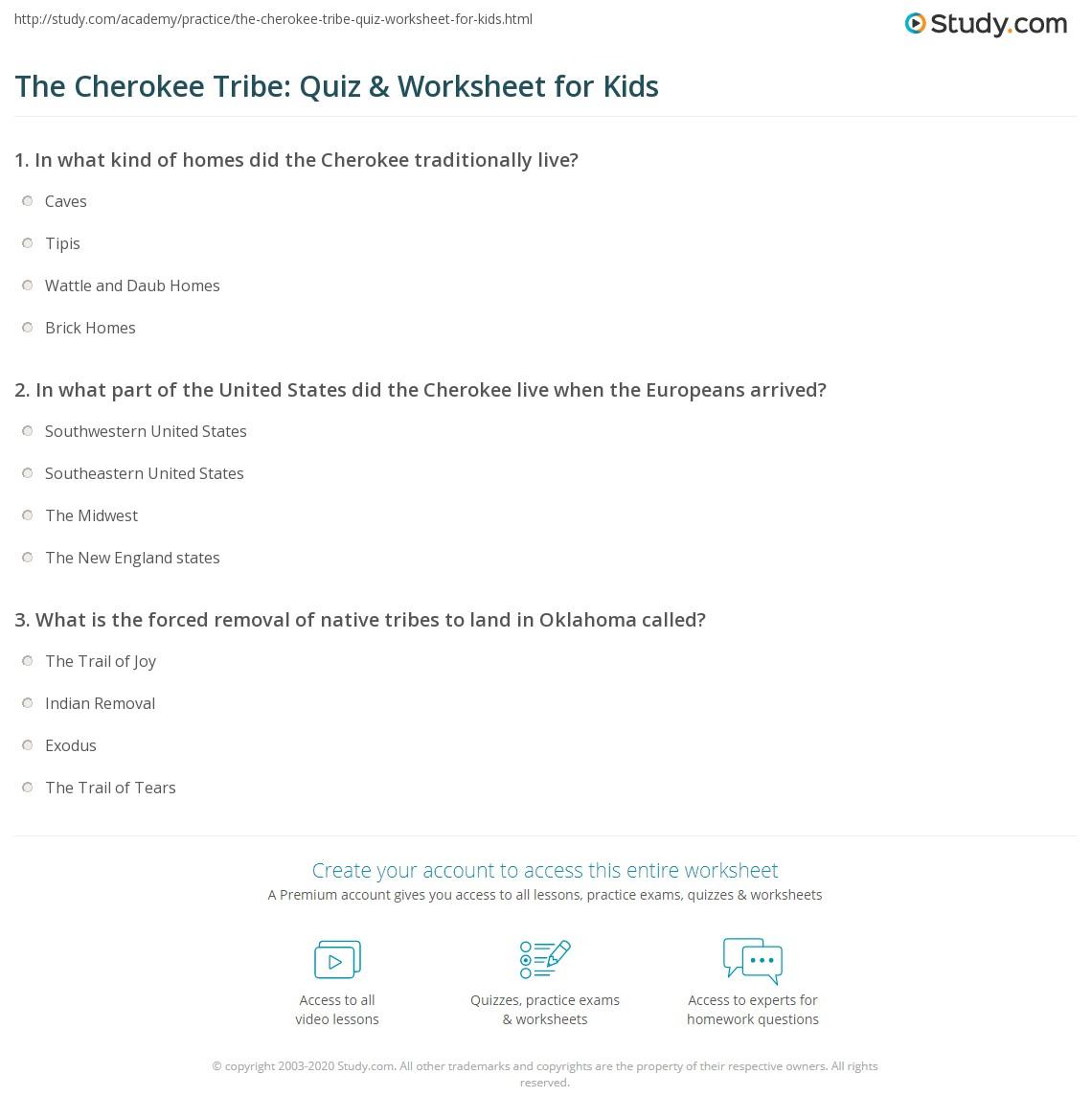The Cherokee Tribe Quiz Amp Worksheet For Kids