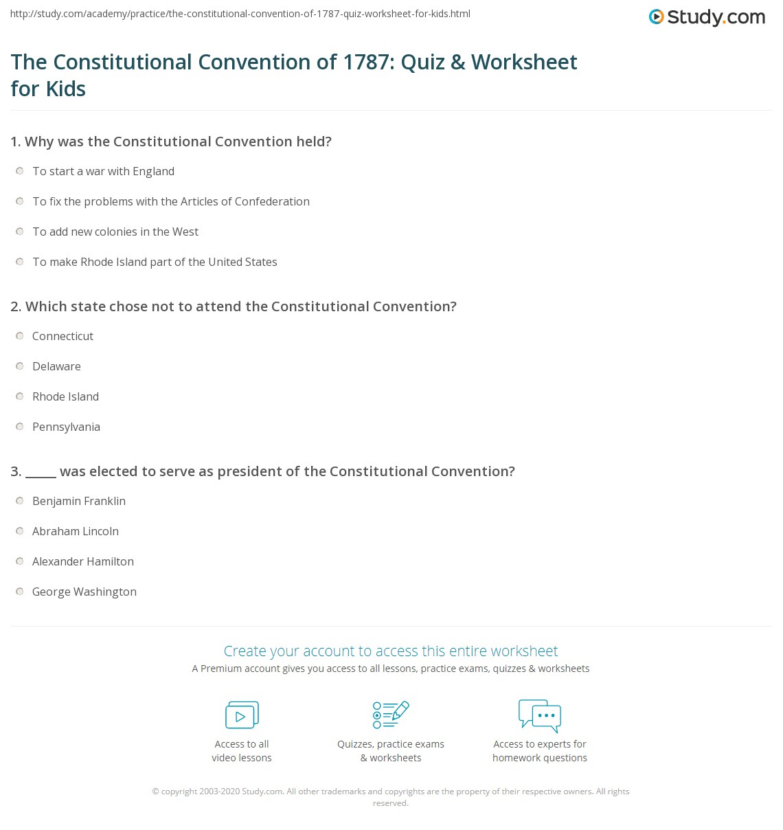 The Constitutional Convention Of Quiz Amp Worksheet