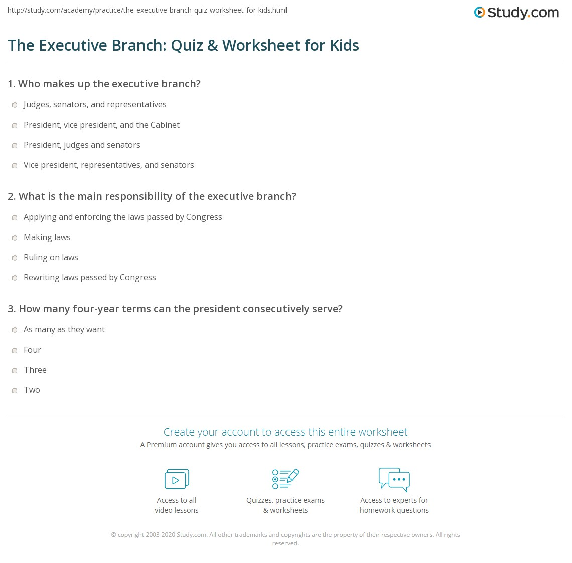 The Executive Branch Quiz Amp Worksheet For Kids