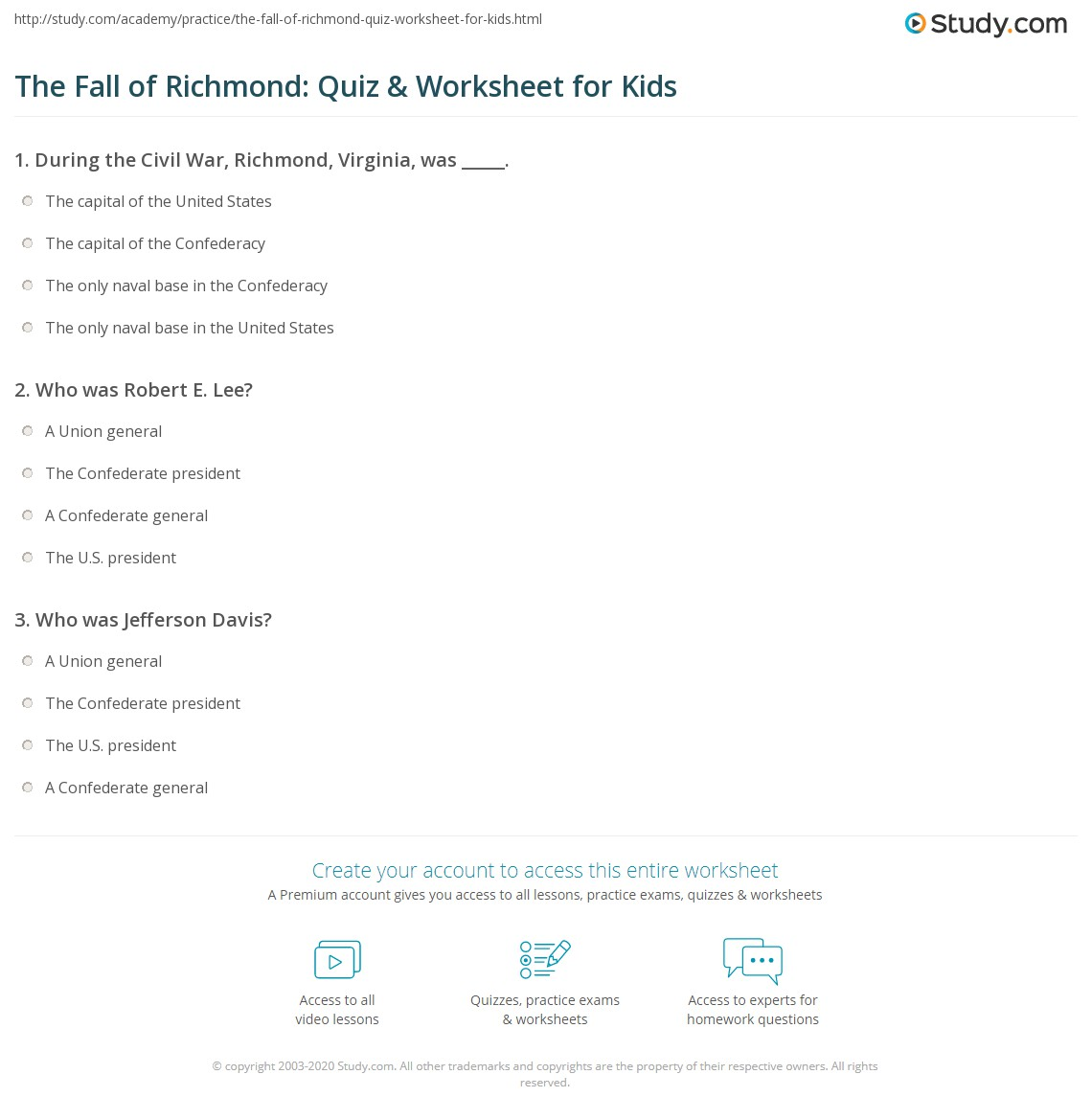 The Fall Of Richmond Quiz Amp Worksheet For Kids