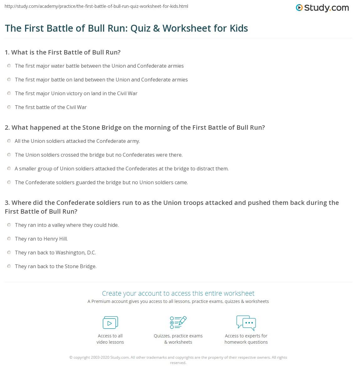 The First Battle Of Bull Run Quiz Amp Worksheet For Kids