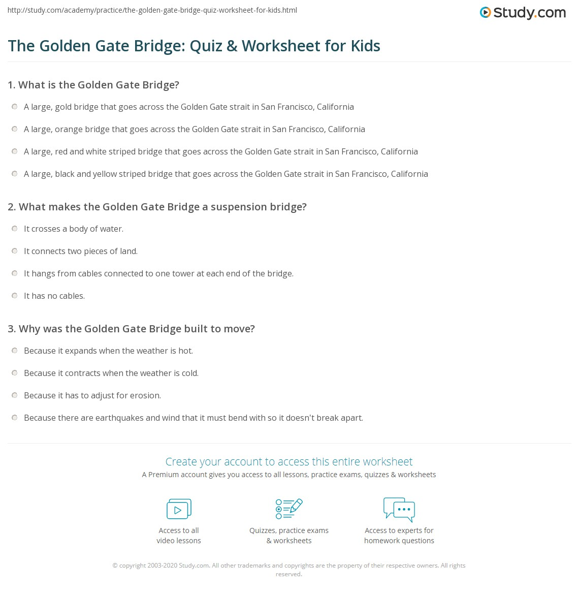 The Golden Gate Bridge Quiz Amp Worksheet For Kids