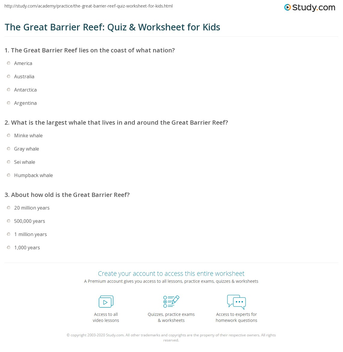 The Great Barrier Reef Quiz Amp Worksheet For Kids
