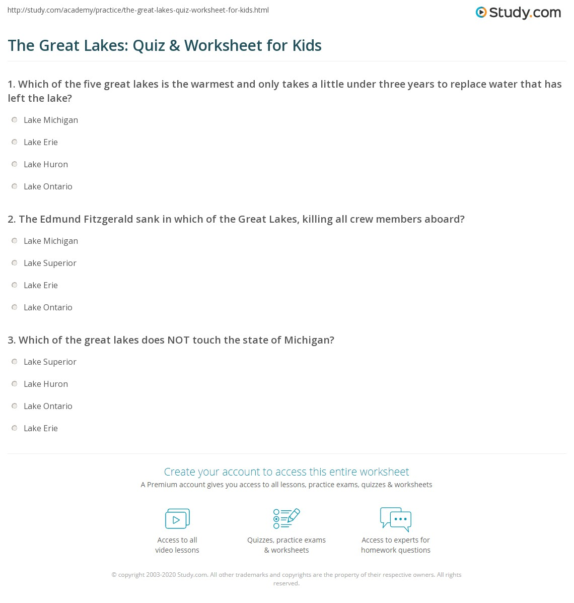 The Great Lakes Quiz Amp Worksheet For Kids