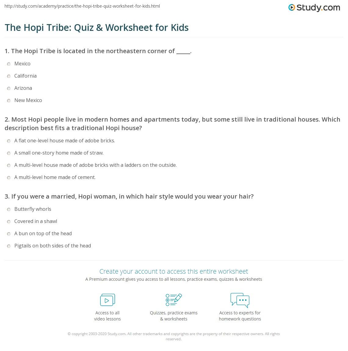 The Hopi Tribe Quiz Amp Worksheet For Kids