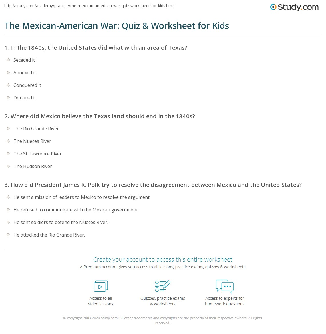 The Mexican American War Quiz Amp Worksheet For Kids