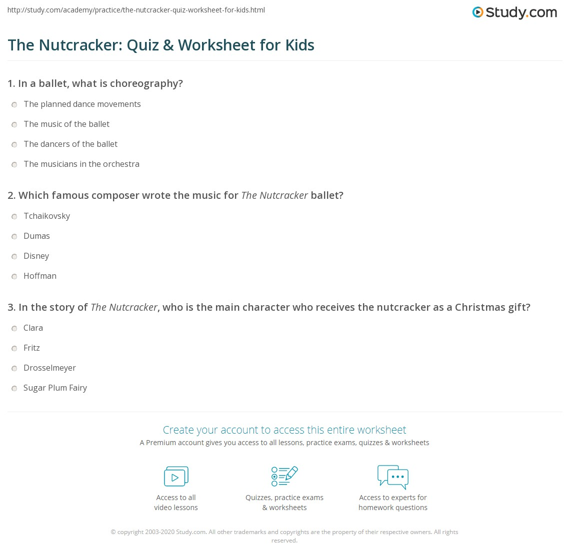 The Nutcracker Quiz Amp Worksheet For Kids