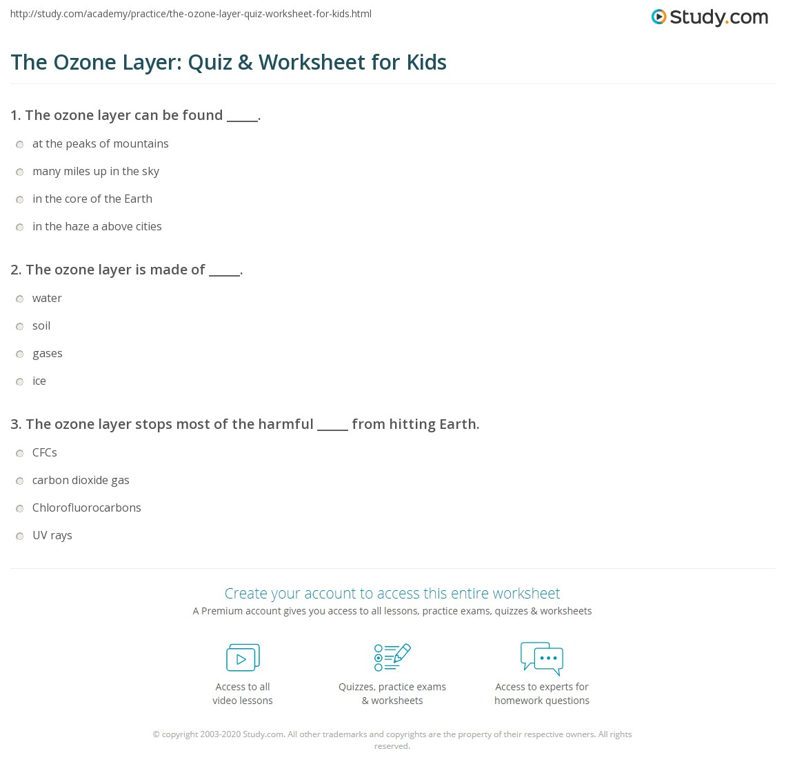 The Ozone Layer Quiz Amp Worksheet For Kids