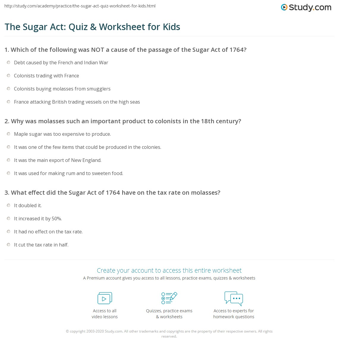 The Sugar Act Quiz Amp Worksheet For Kids