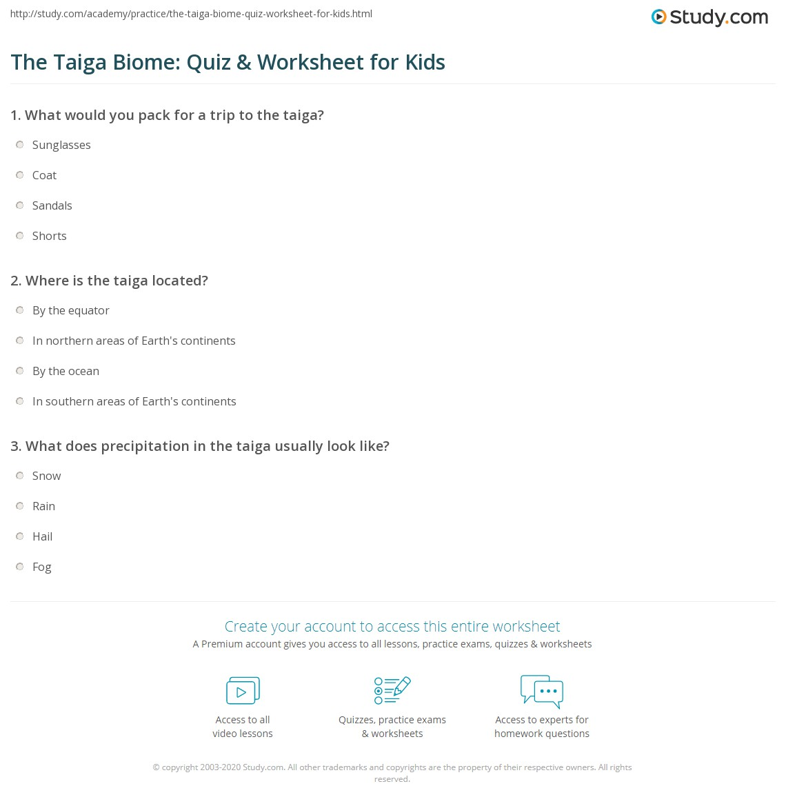 The Taiga Biome Quiz Amp Worksheet For Kids