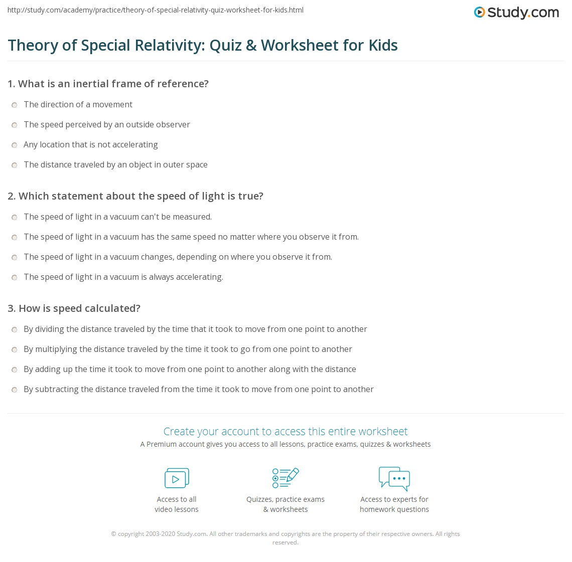 Theory Of Special Relativity Quiz Amp Worksheet For Kids