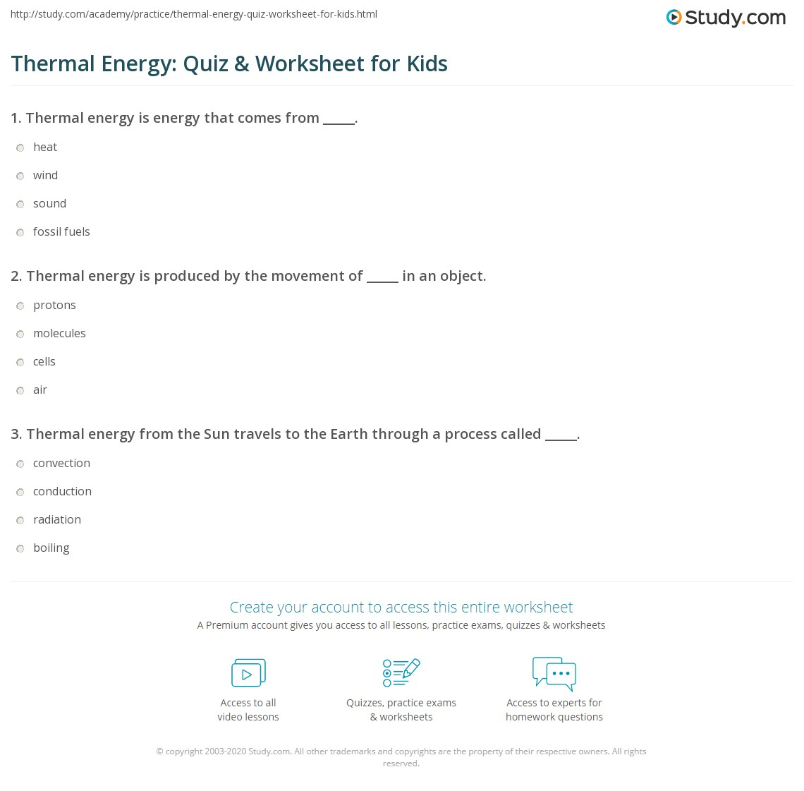 Thermal Energy Quiz Amp Worksheet For Kids