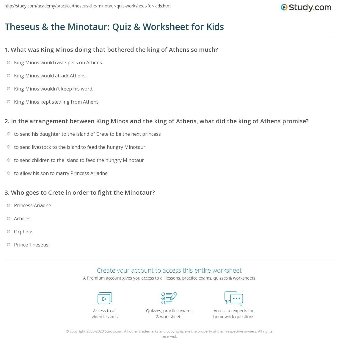 Theseus Amp The Minotaur Quiz Amp Worksheet For Kids