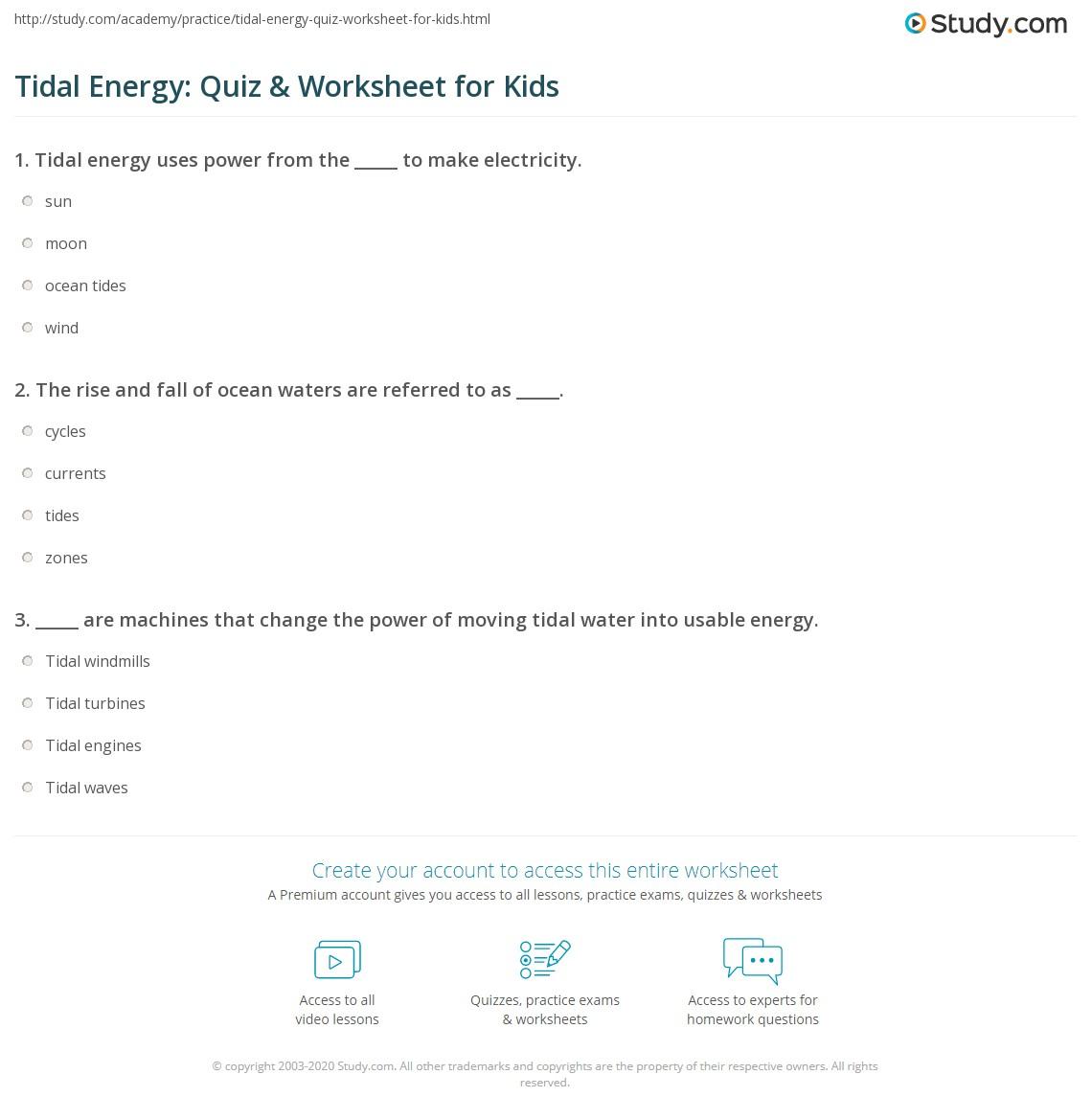 Tidal Energy Quiz Amp Worksheet For Kids